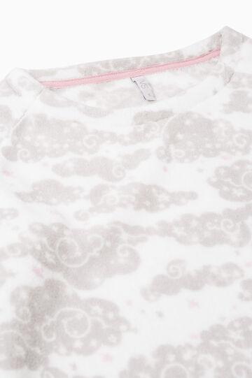 Maglia pigiama in pile stampata, Bianco panna, hi-res