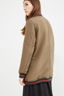 Ribbed bomber jacket, Green, hi-res
