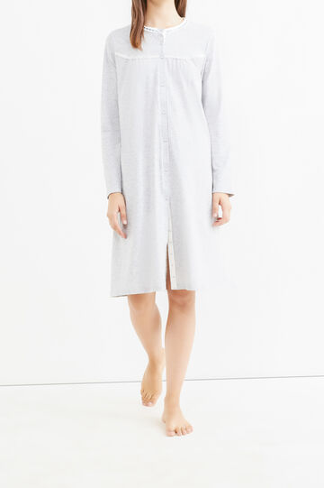 Cotton nightshirt with lace, Grey Marl, hi-res