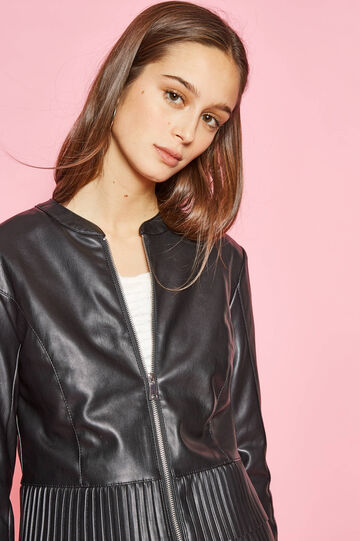 Leather look jacket with stitching, Black, hi-res