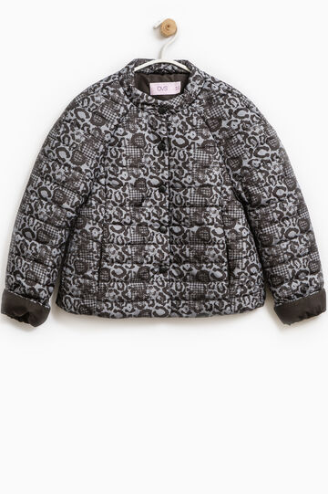 Down jacket with all-over animal print, Black, hi-res
