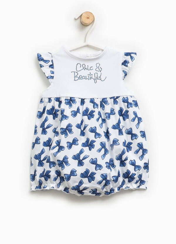 Romper suit with diamantés and bows | OVS