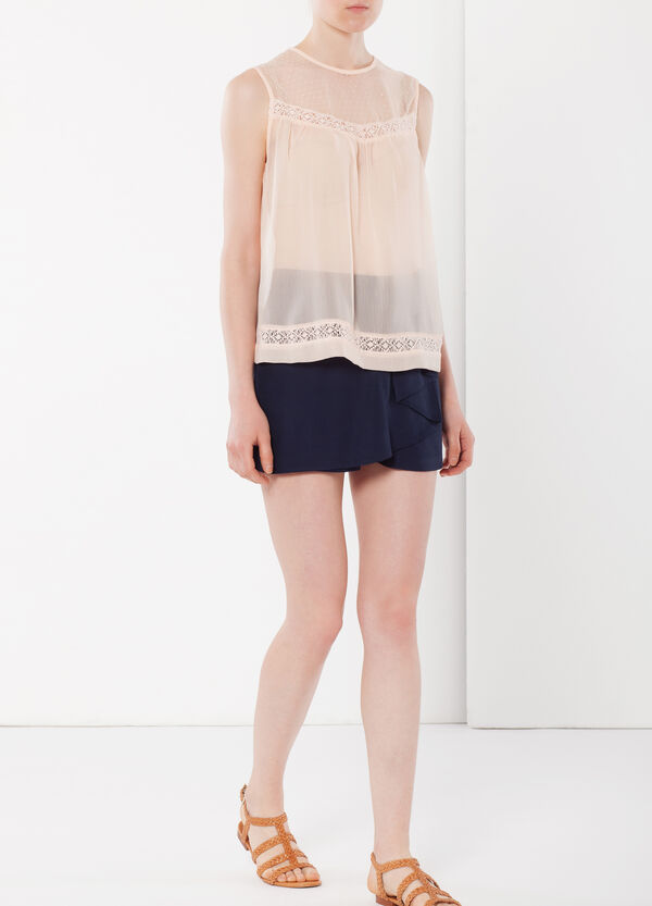 Semi-sheer top with lace inserts   OVS