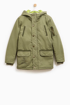 100% cotton jacket with hood, Green, hi-res