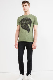 Faded effect cotton T-shirt with seam, Green, hi-res