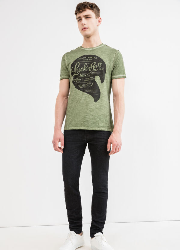 Cotton T-shirt with faced-effect on seams | OVS