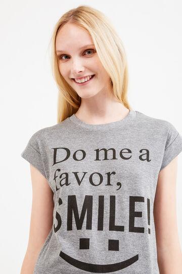 T-shirt with cap sleeves, Grey Marl, hi-res