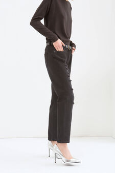 Jeans girlfriend con strappi, Nero, hi-res