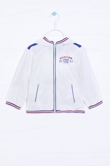 Windbreaker with high neck and print, White, hi-res
