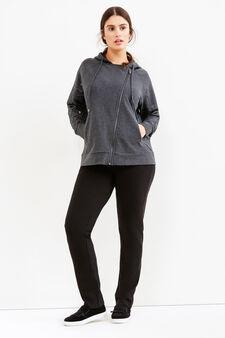 Curvy sweatshirt with asymmetrical zip, Slate Grey, hi-res