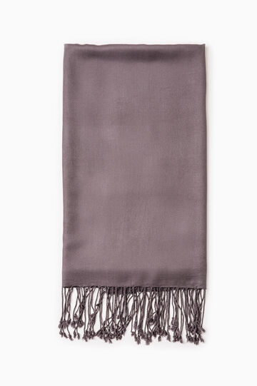 Twill pashmina with long fringes, Grey, hi-res