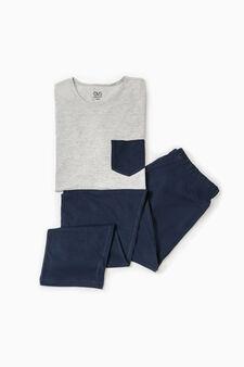 Short-sleeved cotton pyjamas, Grey Marl, hi-res