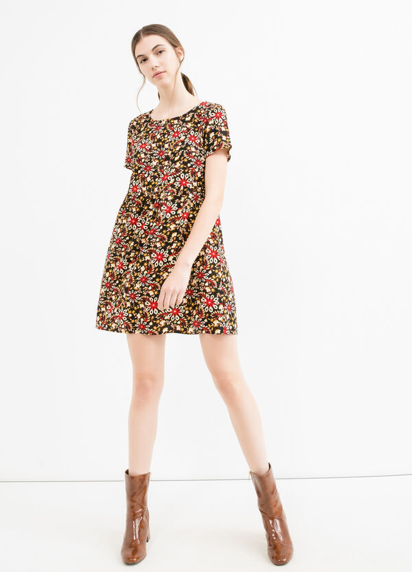 Short crew neck dress in printed viscose | OVS