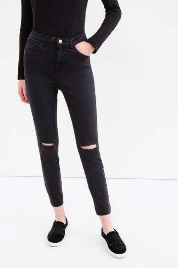 Solid colour stretch trousers with rips, Black, hi-res