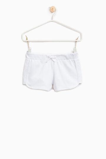 Shorts puro cotone con pizzo, Bianco, hi-res