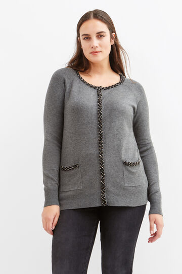Curvy viscose cardigan with diamantés, Grey Marl, hi-res