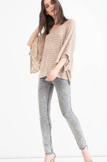 Viscose blend stretch T-shirt, Brown, hi-res