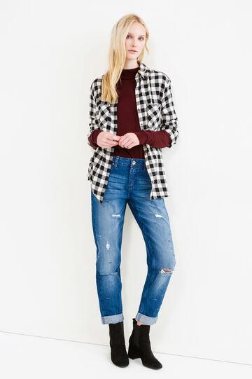 Girlfriend-fit worn-effect jeans, Medium Wash, hi-res