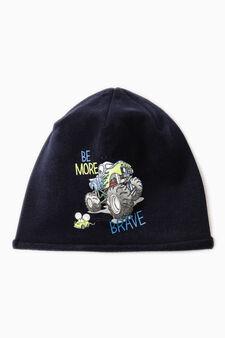 Printed beanie cap, Blue, hi-res