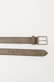 Textured-effect belt with shiny buckle, Beige, hi-res