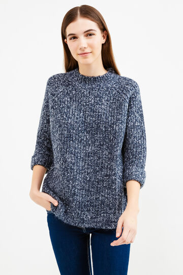 Knitted pullover with three-quarter sleeves, Navy Blue, hi-res