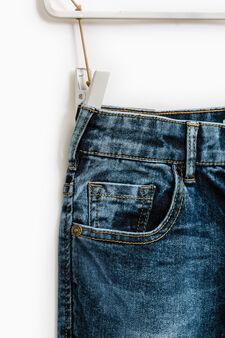 Worn-effect straight-fit stretch jeans, Dark Blue, hi-res