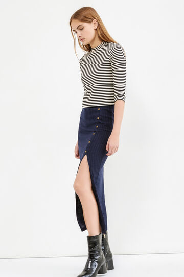Long ribbed skirt with split, Blue, hi-res