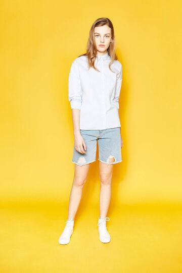 Denim Bermuda shorts with rips