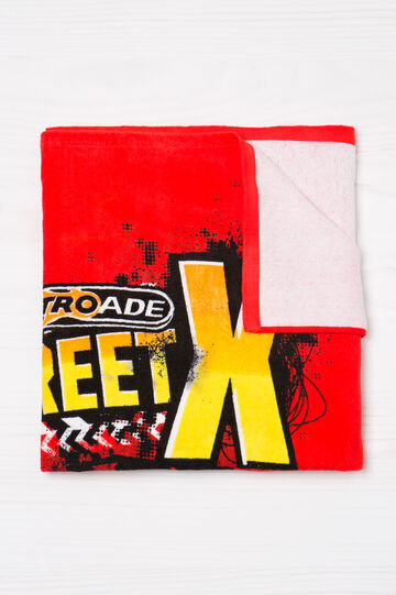 100% cotton beach towel with printed lettering