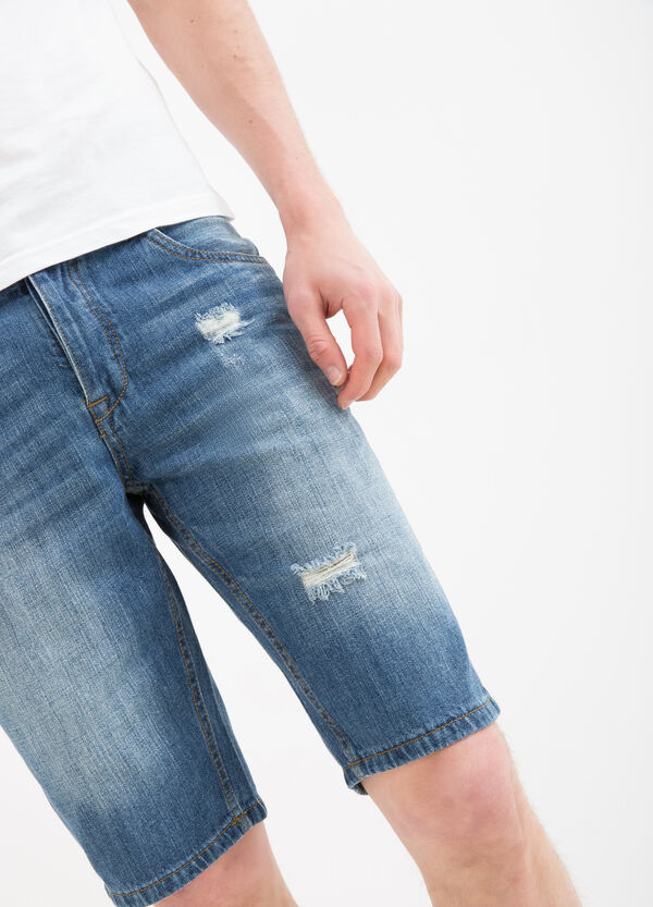 Straight-fit denim Bermuda shorts with rips | OVS