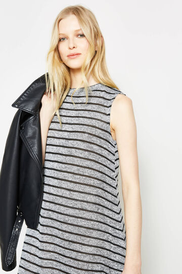Sleeveless striped dress with lurex, Black/Grey, hi-res