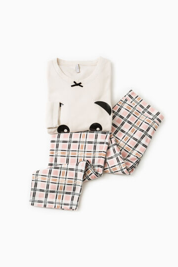 Check printed fleece pyjamas, Beige, hi-res