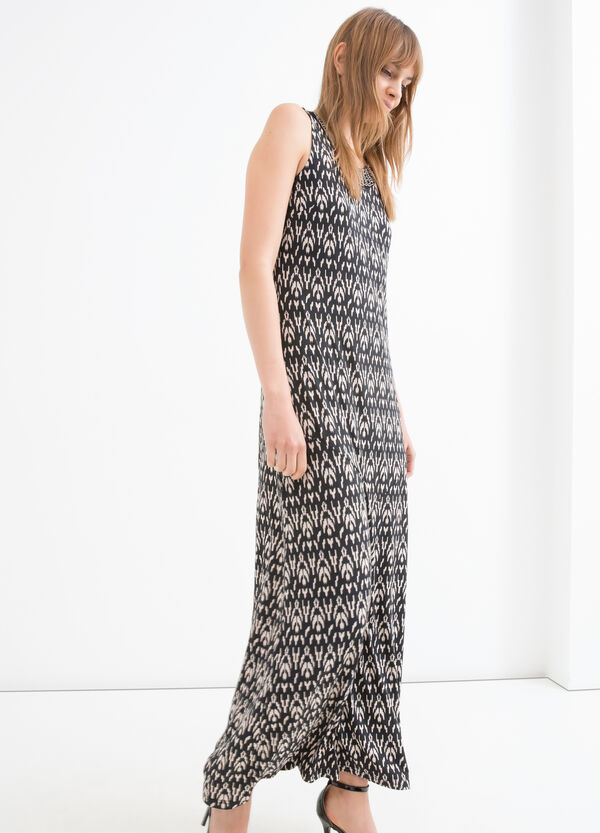 Long printed stretch dress | OVS