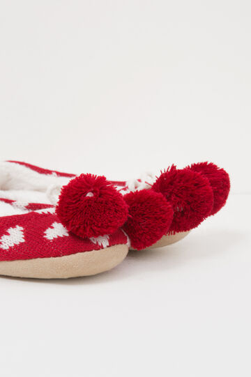 Ballerina slippers with pompoms, White/Red, hi-res