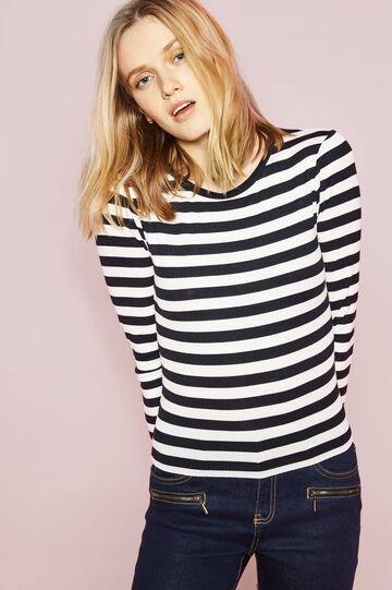 T-shirt a costina fantasia a righe, Bianco/Nero, hi-res