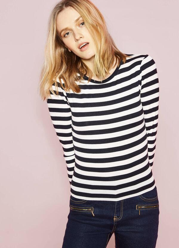 Camiseta de rayas en tejido de canalé | OVS