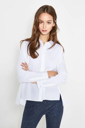 Poplin shirt with asymmetric hem, Optical White, hi-res