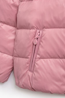 Down jacket with double pocket and hood, Baby Pink, hi-res