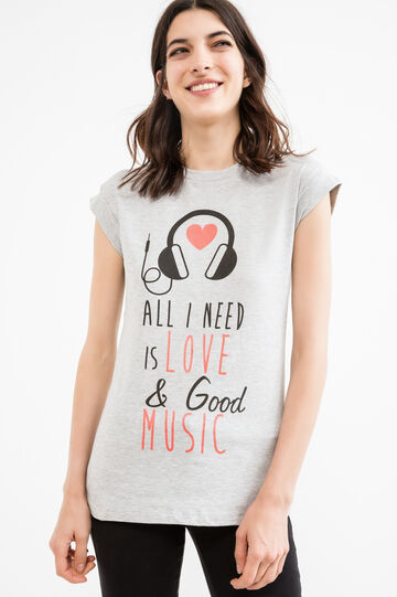Stretch cotton T-shirt with printed lettering, Grey Marl, hi-res