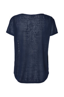Smart Basic solid colour T-shirt with inserts, Navy Blue, hi-res
