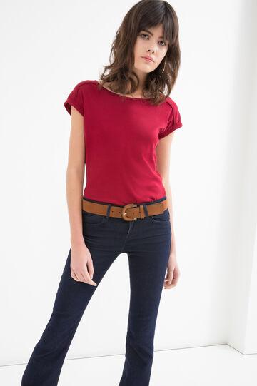 100% cotton T-shirt with round neck, Dark Red, hi-res