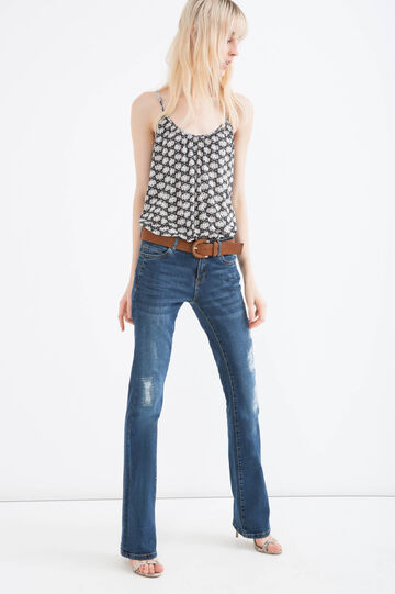Patterned top with spaghetti straps, Black, hi-res