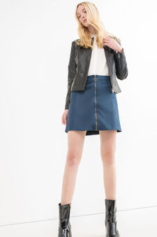 Faux leather jacket with zip cuffs, Black, hi-res