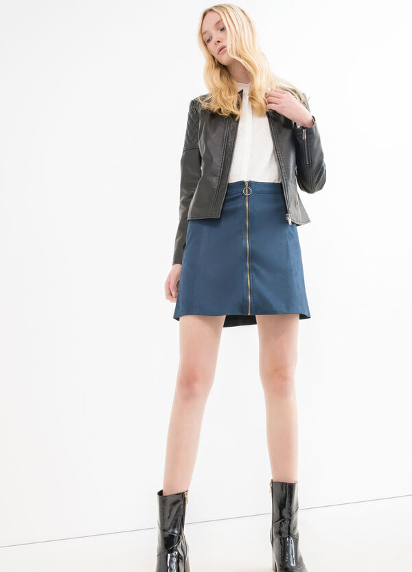 Faux leather jacket with zip cuffs | OVS