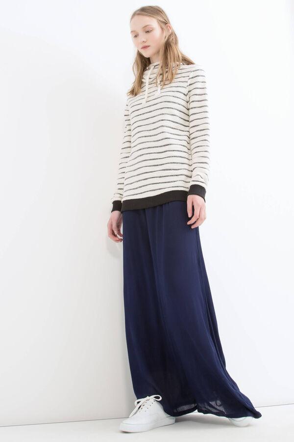 Striped cotton blend hoodie | OVS