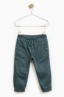 100% cotton joggers with drawstring, Teal Green, hi-res