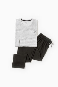 Striped pattern cotton pyjamas, Grey Marl, hi-res