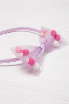 Hairband  with tulle bow, Lilac, hi-res