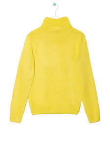 Solid colour knitted pullover, Yellow, hi-res