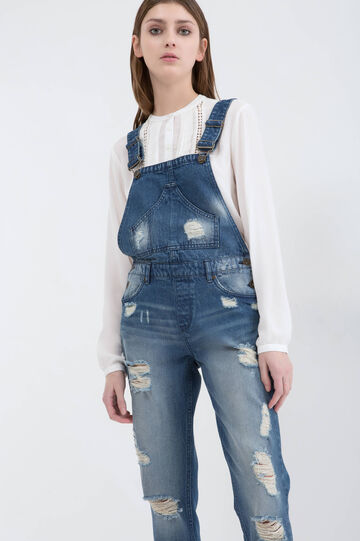 Ripped dungarees, Medium Wash, hi-res